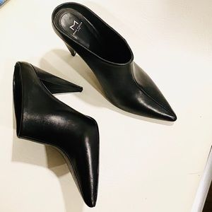Marc Fisher Black Leather Heeled-Mules 8.5